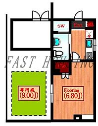 JR山手線 代々木駅 徒歩5分の賃貸マンション 1階1Kの間取り