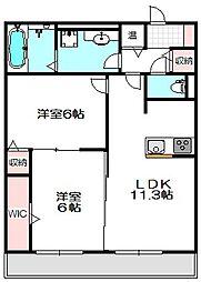 大阪府守口市南寺方北通1丁目の賃貸アパートの間取り