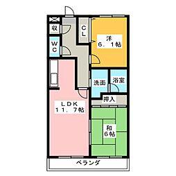 愛知県清須市西枇杷島町末広の賃貸マンションの間取り