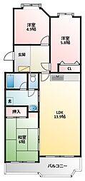 ラソパール東戸塚(ラソパールヒガシトツカ)[2階]の間取り