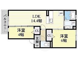 近鉄南大阪線 布忍駅 徒歩11分の賃貸アパート 2階2LDKの間取り