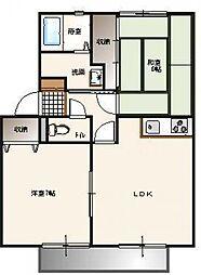 栃木県下都賀郡壬生町中央町の賃貸アパートの間取り