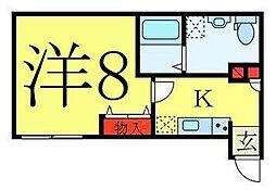 東武東上線 ときわ台駅 徒歩11分の賃貸マンション 1階1Kの間取り