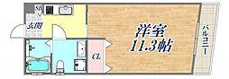 BENISSIMO西宮 5階ワンルームの間取り
