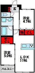 JR鹿児島本線 赤間駅 徒歩25分の賃貸マンション 3階2LDKの間取り