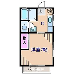 神奈川県横浜市港北区錦が丘の賃貸アパートの間取り