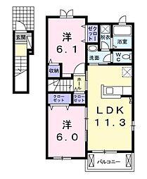 香川県高松市植松町の賃貸アパートの間取り