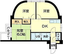 ロイヤルコーポ伊保Ⅱ[3階]の間取り