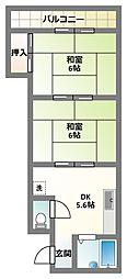 京阪本線 萱島駅 徒歩8分の賃貸マンション 2階2DKの間取り