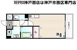 神戸市西神・山手線 伊川谷駅 徒歩2分の賃貸マンション 2階ワンルームの間取り