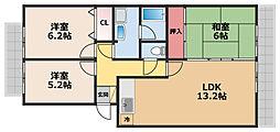 リバーハイツ間宮[1階]の間取り