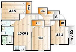 KMハイツVIII E棟[1階]の間取り