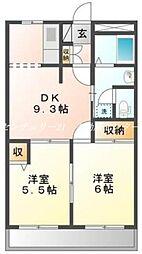 JR山陽本線 西川原駅 徒歩8分の賃貸マンション 3階2LDKの間取り