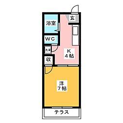 ハイツ弥生ヶ岡[1階]の間取り