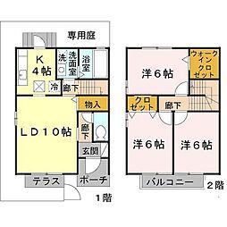[テラスハウス] 兵庫県尼崎市武庫町4丁目 の賃貸【/】の間取り
