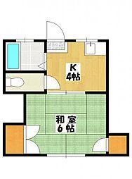 南八幡ハイツA棟[2階]の間取り