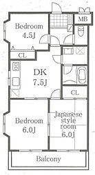 コスモ淵野辺[2階]の間取り