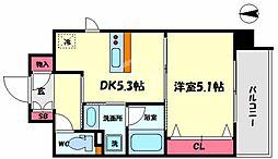 Da Vinchi(ダ ヴィンチ) 9階1DKの間取り