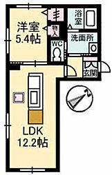プロムノワール湯田温泉駅前 ディジョン[1階]の間取り