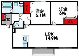 オレンジヒルIII 2階2LDKの間取り