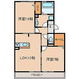 兵庫県尼崎市椎堂1丁目の賃貸アパートの間取り