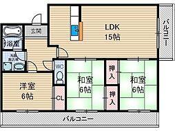 パークヒル尾崎[3階]の間取り
