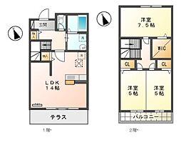 [テラスハウス] 東京都三鷹市中原3丁目 の賃貸【/】の間取り