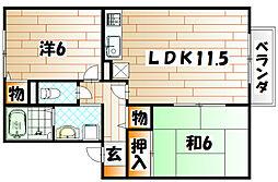 クレ−ル長尾[2階]の間取り