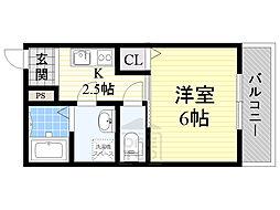京阪本線 千林駅 徒歩4分の賃貸アパート 1階1Kの間取り