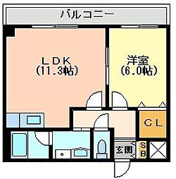 Osaka Metro谷町線 長原駅 徒歩2分の賃貸アパート 1階1LDKの間取り