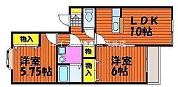 岡山県岡山市東区中川町丁目なしの賃貸アパートの間取り