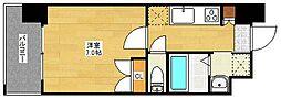 福岡市地下鉄七隈線 渡辺通駅 徒歩3分の賃貸マンション 11階1Kの間取り