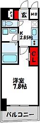 福岡市地下鉄空港線 東比恵駅 徒歩10分の賃貸マンション 7階1Kの間取り