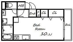 ローレル上河原 1階ワンルームの間取り