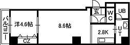 札幌市電2系統 資生館小学校前駅 徒歩3分の賃貸マンション 9階1LDKの間取り