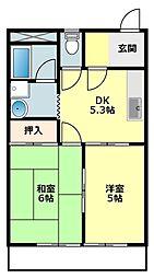 愛知県岡崎市針崎1丁目の賃貸アパートの間取り