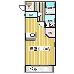 愛知県名古屋市中川区上高畑2の賃貸アパートの間取り