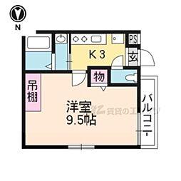 京洛マンション 1階1Kの間取り