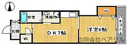 プリムヴェール 2階1DKの間取り