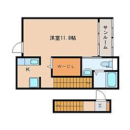 静岡県静岡市葵区沓谷6丁目の賃貸アパートの間取り