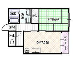 兵庫県加古郡播磨町大中2丁目の賃貸アパートの間取り