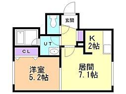 FELIAS富士 3階1LDKの間取り
