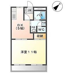 レスポワール太田 2階1DKの間取り