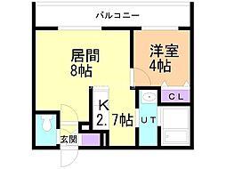札幌市営東豊線 元町駅 徒歩7分の賃貸マンション 2階1LDKの間取り