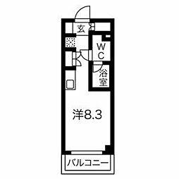 クラリッサ横浜ウエスト 4階ワンルームの間取り