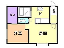カムオンシティ東光 2階1DKの間取り