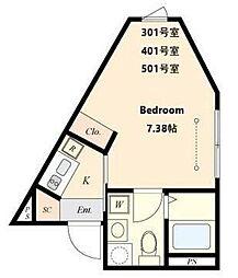 都営三田線 春日駅 徒歩4分の賃貸マンション 4階1Kの間取り