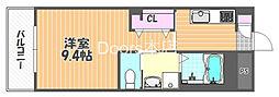 JR宇野線 大元駅 バス14分 浜野西下車 徒歩8分の賃貸マンション 3階1Kの間取り