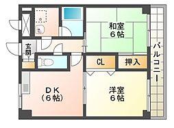 滋賀県野洲市久野部の賃貸アパートの間取り