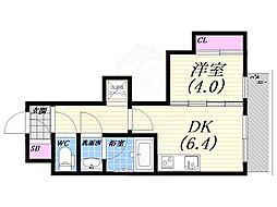 阪急今津線 甲東園駅 徒歩17分の賃貸アパート 3階1DKの間取り